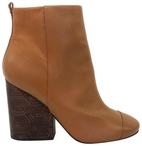 Tory Burch Wooden Round Toe Ankle Brown Boots