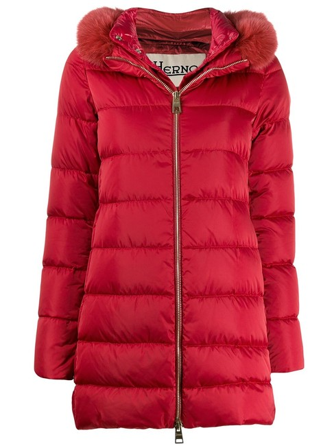 Item - Red Fox Fur Trimmed Down-quilted Puffer Zip-up Hooded Coat Size 10 (M)