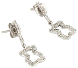 Tous Diamond 18k White Gold Cut Out Bear Dangle Earrings