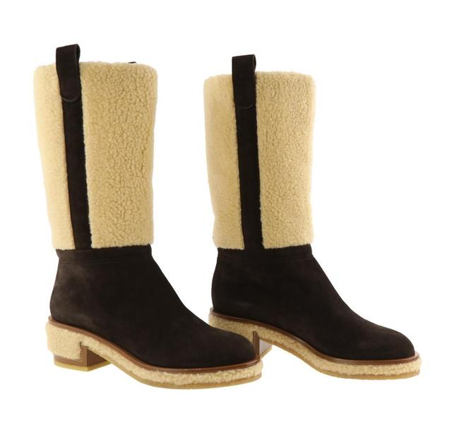 Item - Brown Classic Beige Suede Leather Shearling Cc Logo Knee High Boots/Booties Size EU 35.5 (Approx. US 5.5) Regular (M, B)