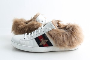 Gucci White New Ace Sneaker with Fur Shoes