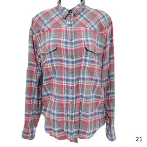 jachs Bea Girlfriend Flannel Button Down Shirt Pink Blue and White