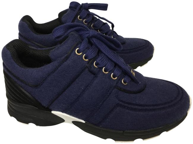 Item - Navy Blue Classic Cc Leather Lace Up Trainer Sneakers Size EU 36 (Approx. US 6) Regular (M, B)