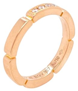 Cartier Maillon Panthere Diamond 18k Pink Gold Band Ring Size 48