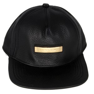 Buscemi Buscemi Mens Adjustable Leather Gold Plaque Hat Made in Italy
