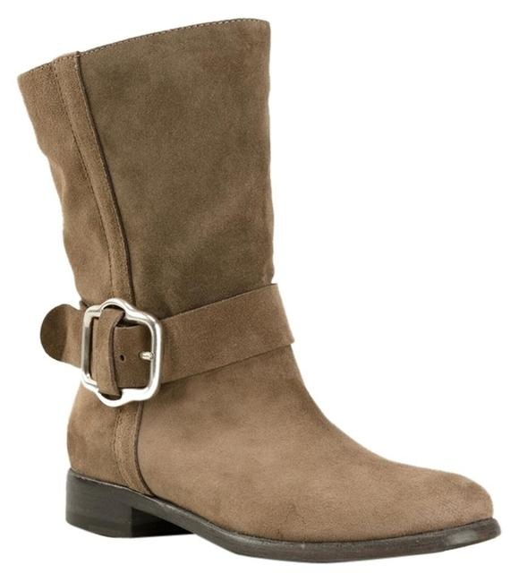 Item - Taupe New European Designer Buckle Suede Leather Ankle Boots/Booties Size EU 37.5 (Approx. US 7.5) Regular (M, B)