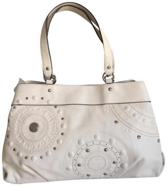 Item - 3 Compartment Ivory Leather Tote