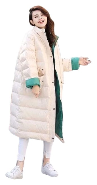 Item - White & Green W Puffer W/Green Lining Coat Size 6 (S)