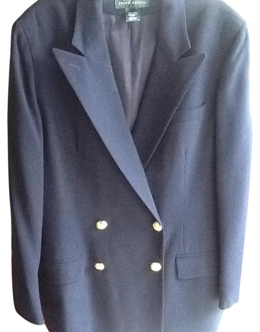 Ralph Lauren Padded Shoulders Made In Usa. Wool. Classic Navy Blue Blazer