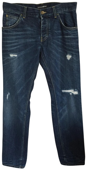 Item - Navy Blue Dark Rinse Distressed Relaxed Fit Jeans Size 10 (M, 31)