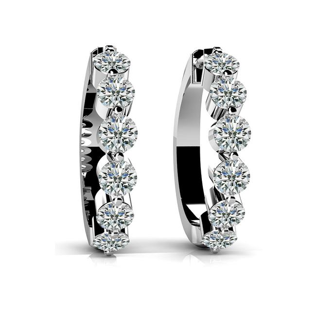 Item - White 1.40 Ct. Round Latch Back Huggie Earrings