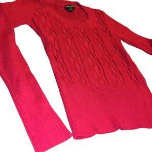 Guess Red Scoop Crew Sweater
