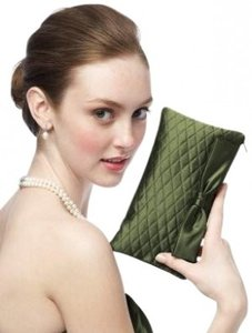 Dessy Taffeta Handbag Quilted Green Clutch