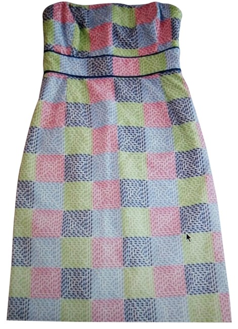 Item - Multicolor Strapless Whale Patchwork Short Casual Dress Size 2 (XS)