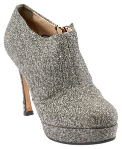 Saint Laurent Ysl Giselle Tweed Metallic Grey Boots