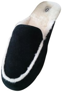 UGG Australia Shearling Slip-on Suede Black and White Mules