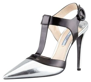 Prada Pointy Toe T-strap Stiletto Black and Silver Pumps