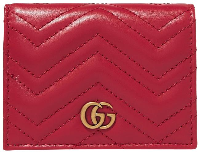 Gucci Marmont New Mini Quilted Wallet Card Holder Red Matelassé Chevron Leather Clutch Gucci Marmont New Mini Quilted Wallet Card Holder Red Matelassé Chevron Leather Clutch Image 1