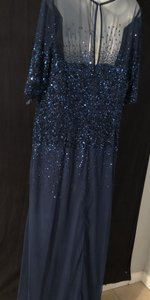 Adrianna Papell Blue Sequence Formal Wedding Dress Size 18 (XL, Plus 0x)