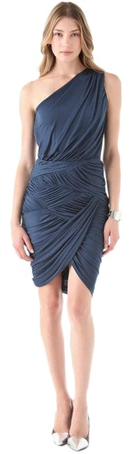 Item - Ocean Blue Jersey Draped One Shoulder Short Cocktail Dress Size 4 (S)
