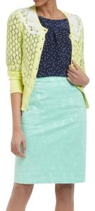 Anthropologie Pencil Textured Jacquard Floral Skirt green