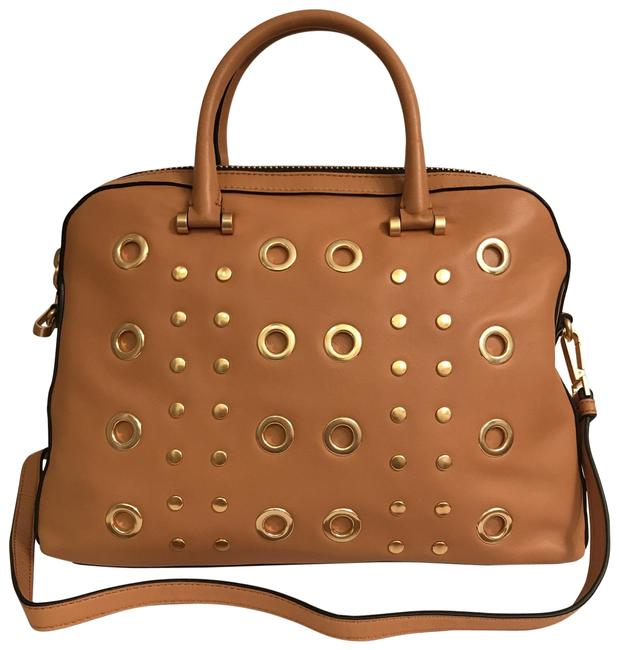 Item - New Studded & Grommeted Brown Tan Gold Leather Satchel