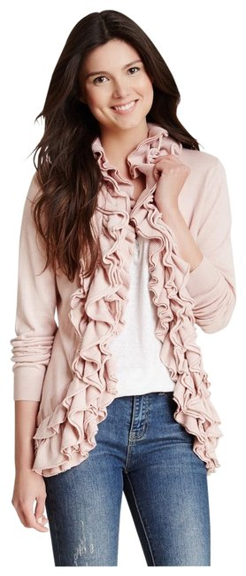 Item - And Ruffled Collared Cardigan Pink Sweater