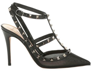 Valentino Studded Rockstud Strappy Mesh Black Sandals