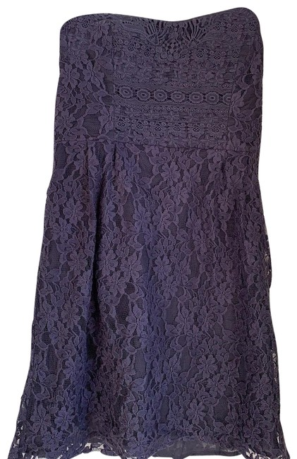 Item - Grey Lace Strapless Short Cocktail Dress Size 8 (M)