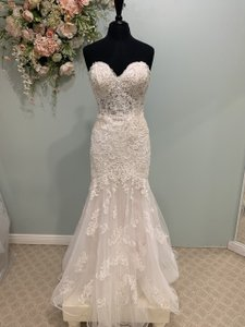 Essense of Australia Ivory/Almond Lace and Tulle D2423 Traditional Wedding Dress Size 10 (M)