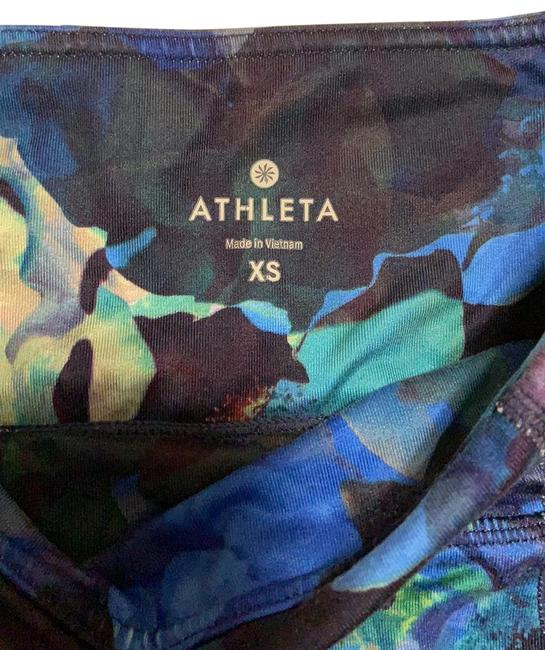 Item - Blue Green Floral Print High Rise Activewear Bottoms Size 0 (XS)