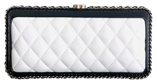 Item - Bag Evening New Quilted White Black Lambskin Leather Clutch