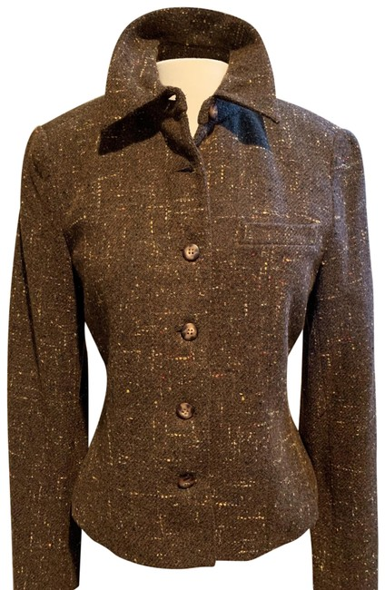 Item - Chocolate Brown and Multi Color Yarns Short Wool Jacket Size 4 (S)
