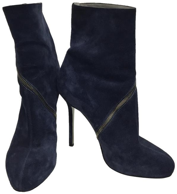 Item - Navy With Crossover Zipper Boots/Booties Size EU 39.5 (Approx. US 9.5) Regular (M, B)