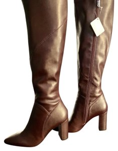 Franco Sarto Knee-high Leather Wide Calf Dark brown/ burgundy Boots