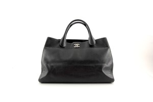 Chanel Executive Cerf Leather Satchel in Black