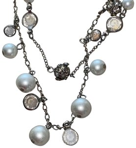 Express Gorgeous Multi Chain Necklace White Pearl Crystal