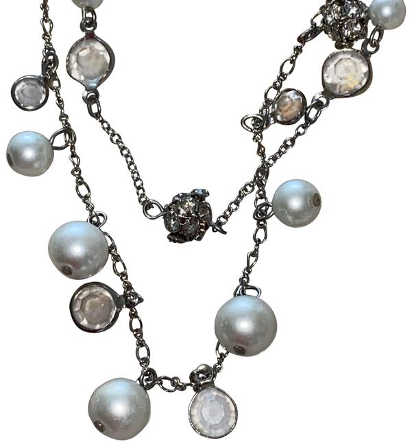 Item - White Multi Chain Pearl Crystal Necklace