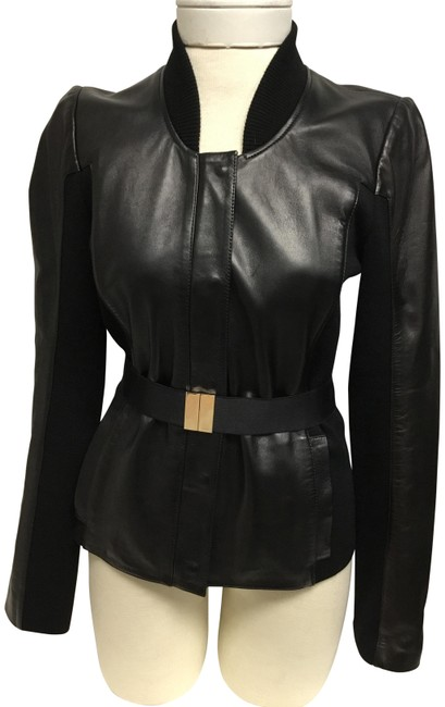 Item - Black And Knit Belted Jacket Size 4 (S)