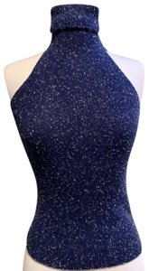 Crazy Horse Blue and white marled Halter Top