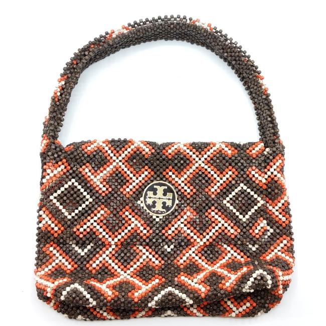 Item - Brown and Orange Wooden Bead Shoulder Bag