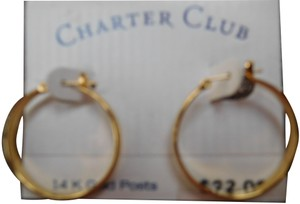 CHARTER CLUB Vintage Charter Club Hoop Earrings Goldtone 14 K Gold Posts New on Ori