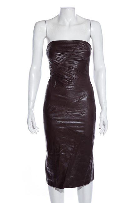 Item - Brown Leather Short Cocktail Dress Size 4 (S)