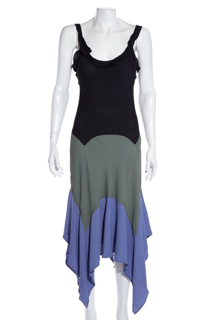 Item - Multicolor Yves Color Block Mid-length Cocktail Dress Size 4 (S)