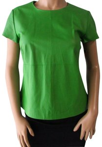 Worth Leather Short Sleeve Casual Boxy Top Green