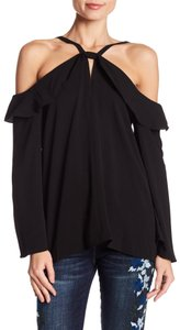 CeCe by Cynthia Steffe Size Xs Cold Shoulder Longsleeve Top Black