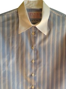 Thomas Pink Cufflink Famous Shirt Maker 100% Irish Cotton Top Blue and White Stripes with White Collar and Cuffs