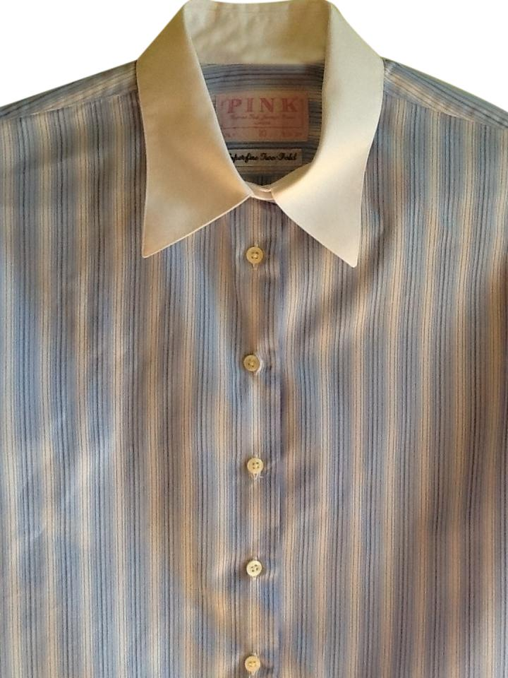 c55aaea7dff204 Thomas Pink Blue and White Stripes with White Collar and Cuffs Blouse