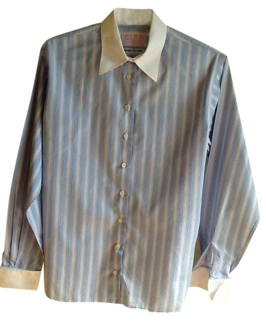 Thomas Pink Cufflink Famous Shirt Maker Irish Cotton Shirts Top Blue and White Stripes with White Collar and Cuffs