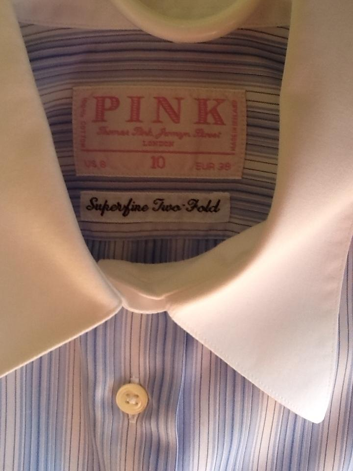 7b92211faa758e Thomas Pink Cufflink Closure Famous Shirt Maker Irish Cotton Shirts Top Blue  and White Stripes with. 12345